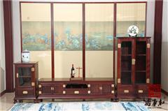 万事红 国标红木 中式古典 微凹黄檀 红酸枝 客厅 三组合电视柜