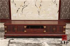 万事红 国标红木 中式古典 微凹黄檀 红酸枝 客厅2米山水电视柜