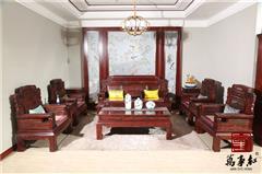 万事红 国标红木 中式古典 微凹黄檀 红酸枝 客堂大年夜堂 否极泰来沙发11件套