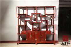 万事红 国标红木 中式古典 微凹黄檀 红酸枝 客厅书房 博古架