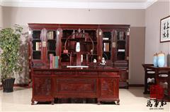 万事红 国标红木 中式古典 微凹黄檀 红酸枝 书房 办公室 1.8米办公桌配三组合书柜