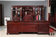 万事红 国标红木 中式古典 微凹黄檀 红酸枝 书房办公室 3.2米办公桌配三组合书柜