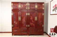 万事红 国标红木 中式古典 微凹黄檀 红酸枝 卧房 檀雕 花鸟顶箱柜