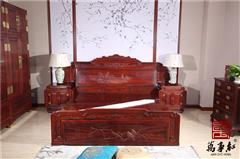 万事红 国标红木 中式古典 微凹黄檀 红酸枝 卧室卧房 如意大床