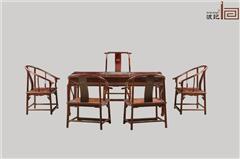 波记家具 老挝大红酸枝茶台(学名交趾黄檀) 1.8米黑框苏式茶台6件套 高端红木家具 古典家具茶台 健康环保家具 休闲茶台茶桌系列
