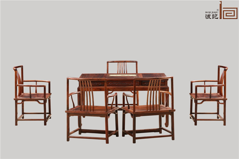 波记家具 老挝大红酸枝茶台(学名交趾黄檀) 1.38米梳背椅茶台6件套 红木休闲茶台茶桌系列 健康环保家具 高端红木家具 中式古典茶台