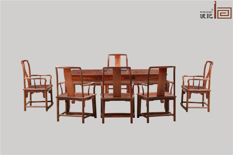 波记家具 老挝大红酸枝茶台(学名交趾黄檀) 2米清莲茶台7件套 高端红木家具 健康环保家具 中式古典休闲茶台茶桌系列