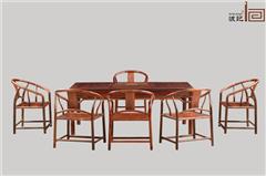 波记家具 老挝大年夜红酸枝茶台(学名交趾黄檀) 2米新明式茶台7件套 高端红木家具 安康环保家具 新明式茶台 休闲茶台茶桌系列