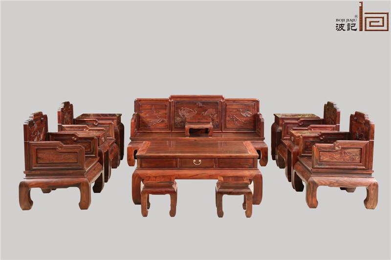 波记家具 老挝大红酸枝沙发(学名交趾黄檀) 明式家具沙发 松鹤延年沙发13件套 健康环保家具 高端红木家具 客厅沙发系列