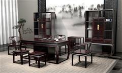 汉府家具 红木家具印尼黑酸枝(学名:阔叶黄檀)清君子新古典茶台茶室空间中式茶台