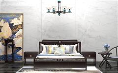 汉府家具 红木家具印尼黑酸枝(学名:阔叶黄檀)新古典非常道大床组合中式大床配床头柜
