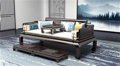汉府家具 红木家具印尼黑酸枝(学名:阔叶黄檀)新古典罗汉床休闲躺椅