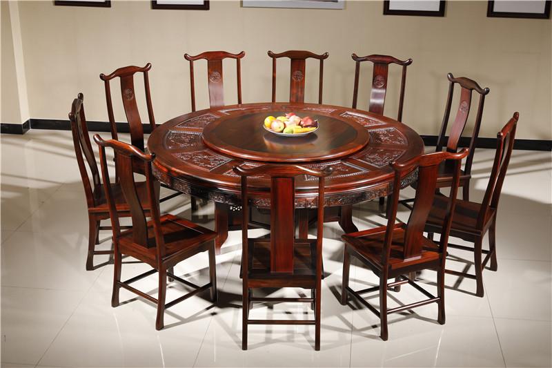 云林堂红木-中式风格-古典风格-国标红木-老挝大红酸枝(交趾黄檀)-榫卯工艺-餐厅-1.8米明式圆台