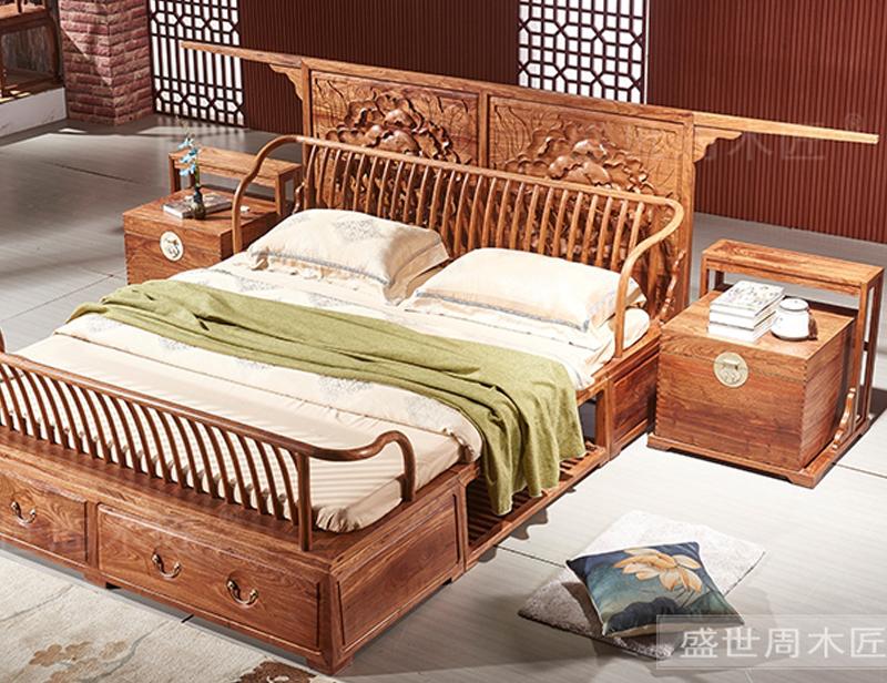 盛世周木匠 刺猬紫檀 牡丹大床 双人床1.8米带床头柜 明清古典 卧室系列 红木大床