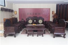 云林堂红木-中式风格-古典风格-国标红木-赞比亚紫檀-血檀(染料紫檀)-榫卯工艺-客厅三福沙发-13件套