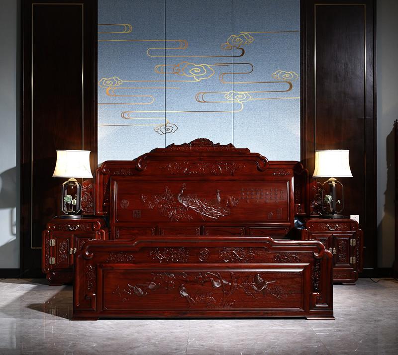 满圆红红木 红酸枝 古典家具 中式家具 红木家具 红木大床 中式卧房 卧房系列 景韵大床