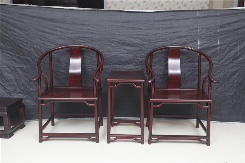 云林堂红木-中式风格-古典风格-国标红木-赞比亚紫檀-血檀(染料紫檀)-榫卯工艺-休闲-客厅-书房-明式圈椅三件套