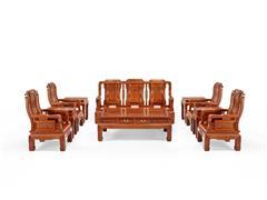 明堂红木 大果紫檀 缅甸花梨 红木家具 红木沙发 中式家具 中式客厅 客厅系列 和美沙发10件套
