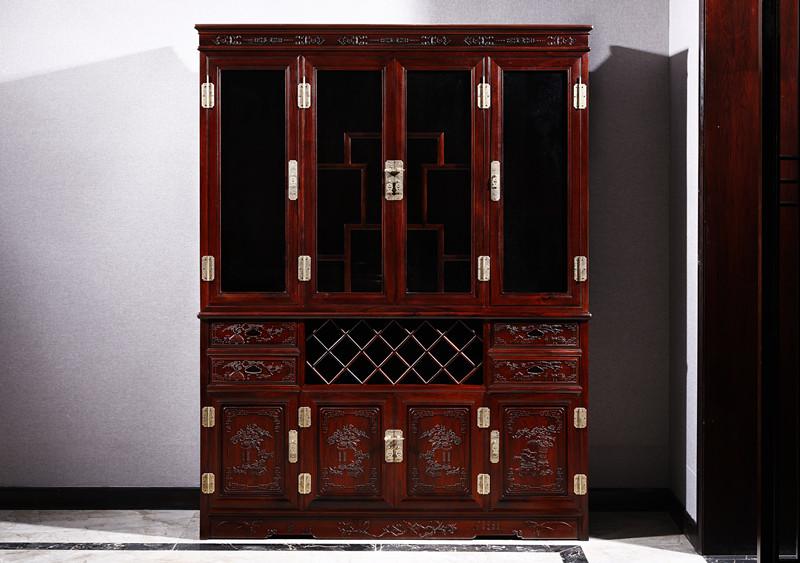 满圆红红木 红酸枝 古典家具 中式家具 红木家具 红木酒柜 餐厅系列 1.58酒柜