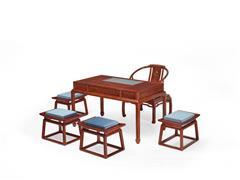 明堂红木 大果紫檀 缅甸花梨 中式家具 中式书房 红木茶台 中式空间 书房系列 茶台6件套