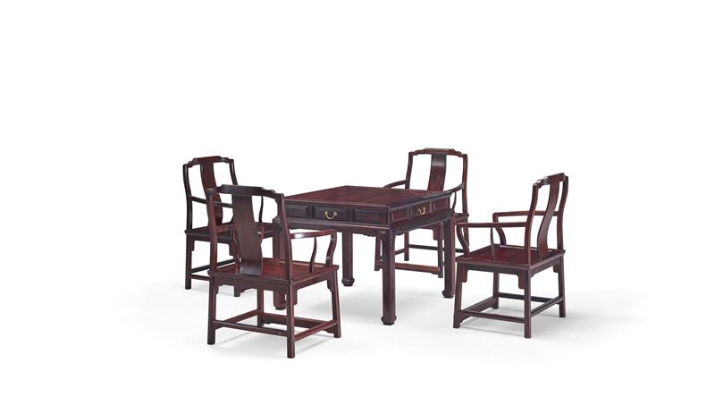 明堂红木 红酸枝 红木家具 红木方桌 中式家具 中式空间 书房系列 客厅系列 餐厅系列 荣耀方桌5件套