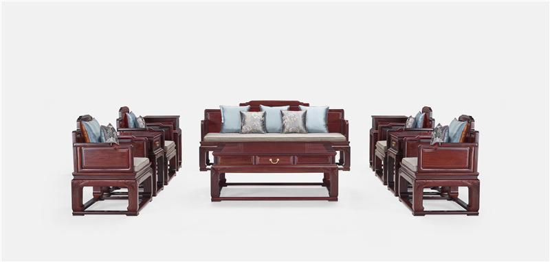 明堂红木 红酸枝 红木家具 红木沙发 中式家具 中式客厅 客厅系列 荣耀沙发 10件套