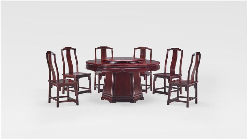 明堂红木 红酸枝 红木家具 红木圆桌 中式家具 中式空间 中式餐厅 餐厅系列 荣耀圆台9件套