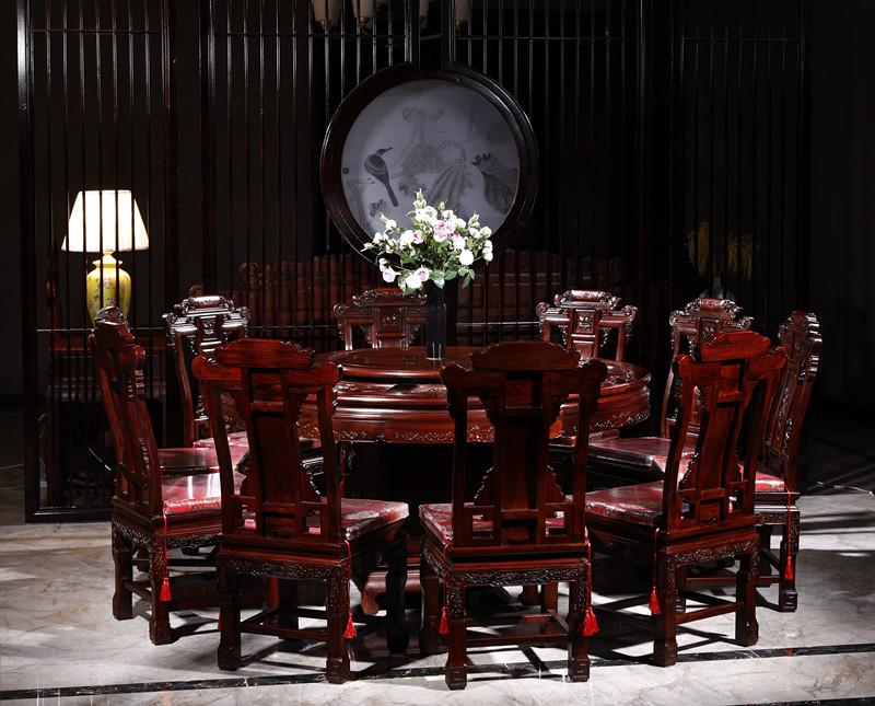 满圆红红木 红酸枝 古典家具 中式家具 红木家具 红木圆台 中式餐厅 餐厅系列 财源山水圆台10件套