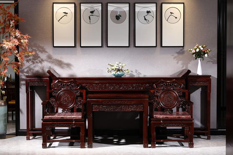 满圆红红木 红酸枝 古典家具 中式家具 红木家具 红木中堂 客厅系列 灵芝中堂