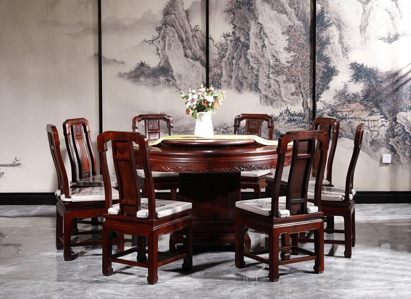 满圆红红木 红酸枝 古典家具 中式家具 红木家具 中式餐厅 红木餐桌 餐厅系列 国色天香圆桌9件套