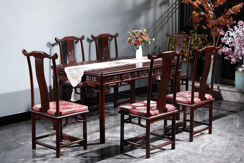 满圆红红木 红酸枝 古典家具 中式家具 红木家具 中式餐厅 红木餐桌 餐厅系列 明式餐桌7件套