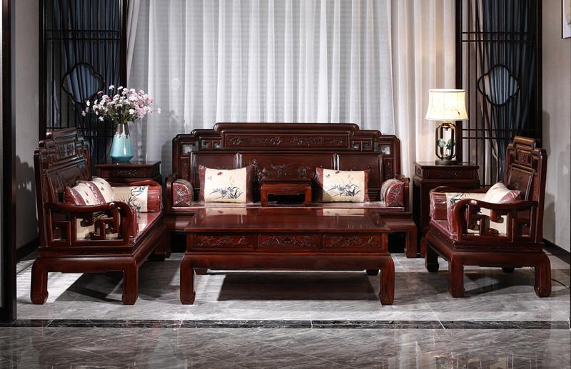 满圆红红木 红酸枝 古典家具 中式家具 红木家具 中式客厅 红木沙发 客厅系列 国色天香沙发7件套