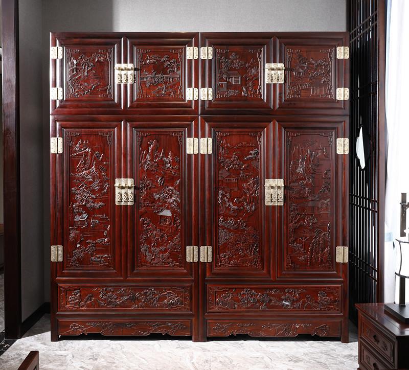 满圆红红木 红酸枝 古典家具 中式家具 红木家具 中式卧房 卧房系列 顶箱柜