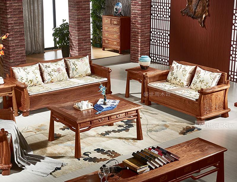 盛世周木匠 刺猬紫檀 花格沙发 红木沙发现代中式 客厅系列