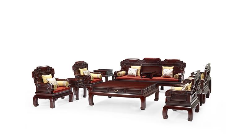 明堂红木 微凹黄檀 红木家具 红木沙发 中式家具 中式客厅 客厅系列 合家福沙发11件套