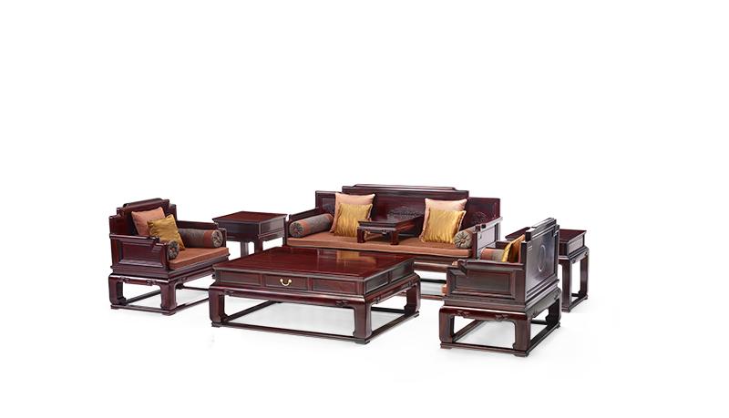 明堂红木 微凹黄檀 红木家具 红木沙发 中式家具 中式客厅 客厅系列 鸿禧沙发7件套
