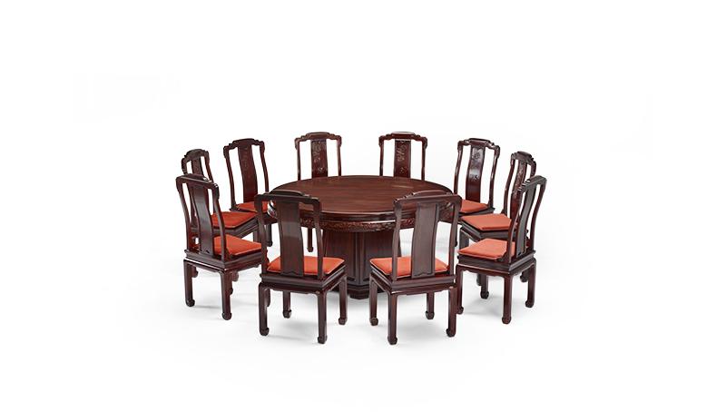 明堂红木 微凹黄檀 红木家具 红木圆桌 中式家具 中式空间 中式餐厅 餐厅系列 合家福圆台11件套