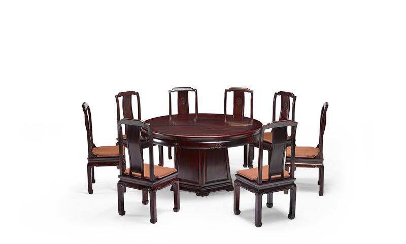 明堂红木 微凹黄檀 红木家具 红木圆桌 中式家具 中式空间 中式餐厅 餐厅系列 鸿禧圆台9件套