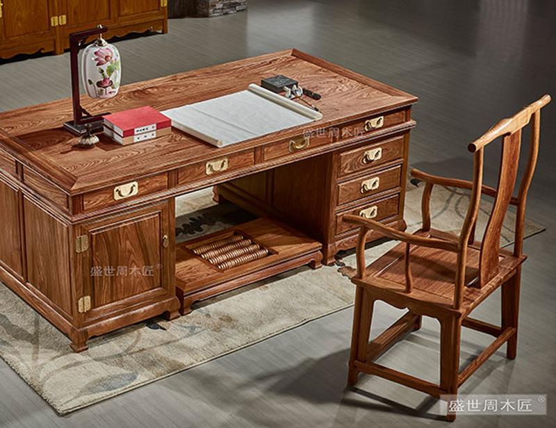 盛世周木匠 刺猬紫檀 豪华办公桌 明清古典 红木书桌 办公系列
