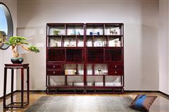沽之大匠 赞比亚紫檀 血檀博古架 新中式红木家具 书房系列 现代中式 东方传承博古架 多宝格