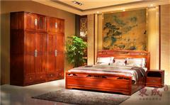 東成紅木 新古典紅木家具 緬甸花梨大床 香茗五號大床 緬甸花梨衣柜  紅木臥室系列