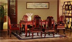 东成红木 大红酸枝家具 大红酸枝大象宝座餐台 红木餐厅系列