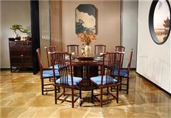 沽之大匠 赞比亚紫檀 血檀 东方传承138圆餐桌 新中式红木圆餐台 客厅餐厅系列 现代中式红木家具
