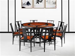 海强红木 东方之信 刺猬紫檀 红木家具 中式家具 新中式家具 中式餐厅 餐厅系列  惊鸿圆餐桌
