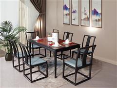 海强红木东方之信 刺猬紫檀 红木家具 中式家具 新中式家具 中式餐厅 餐厅系列 惊鸿餐桌
