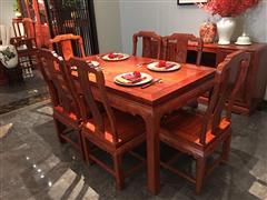 盧家藝林 紅木家具緬甸花梨(學名:大果紫檀)新中式家具餐廳系列國色天香餐臺中式餐桌
