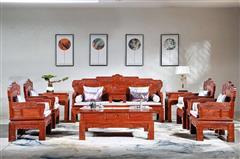 华厦·大不同 大果紫檀 缅甸花梨 中式家具 红木家具 古典家具 新古典家具 中式客厅 客厅系列 路路通沙发11件套