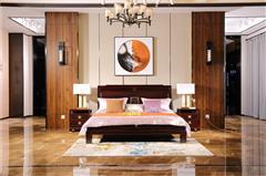 沽之大匠 赞比亚紫檀 血檀 听雨敲窗大床 卧室套房系列 新中式红木大床 现代中式红木家具