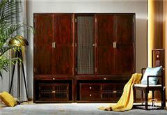 東成紅木 東成·文宋 黑酸枝組合衣柜  知境組合衣柜  當代中式家具 闊葉黃檀新中式 新中式臥室系列