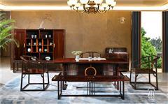 東成紅木 東成·文宋 黑酸枝茶臺 知境茶臺五件套  當代中式家具 闊葉黃檀新中式 新中式茶室系列